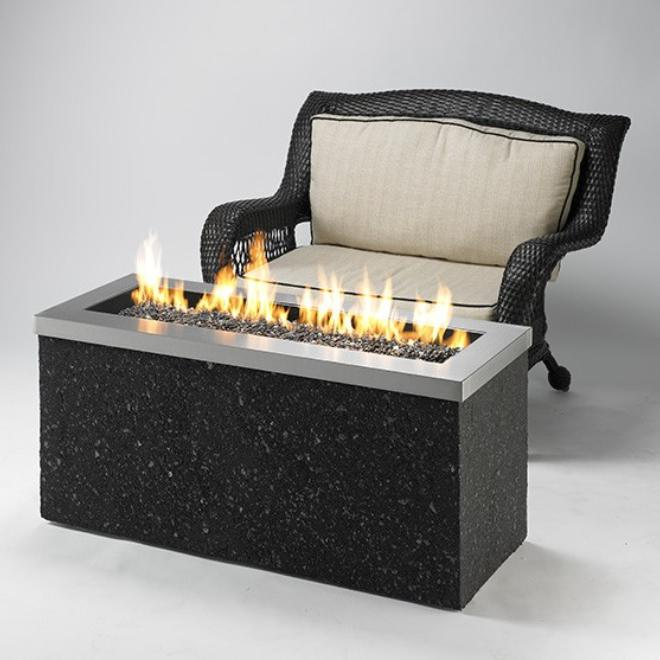 The Outdoor GreatRoom Company Key Largo 54-Inch Linear Propane Gas Fire Pit Table - Stainless Steel - KL-1242-SS - Fire Pit Table - The Outdoor GreatRoom Company - ElectricFireplacesPlus.com