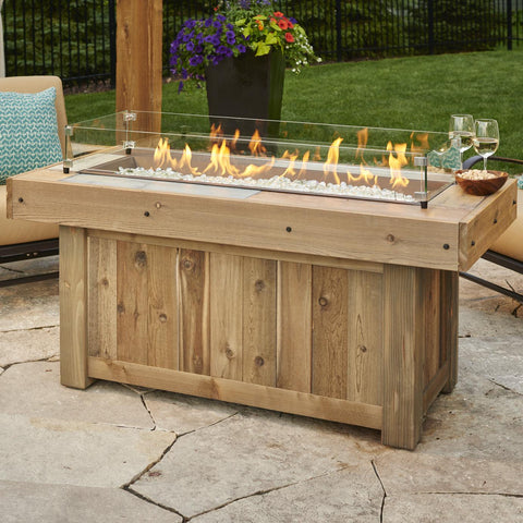 The Outdoor GreatRoom Company Vintage 54-Inch Linear Natural Gas Fire Pit Table - Brown - VNG-1242BRN-NG - Fire Pit Table - The Outdoor GreatRoom Company - ElectricFireplacesPlus.com