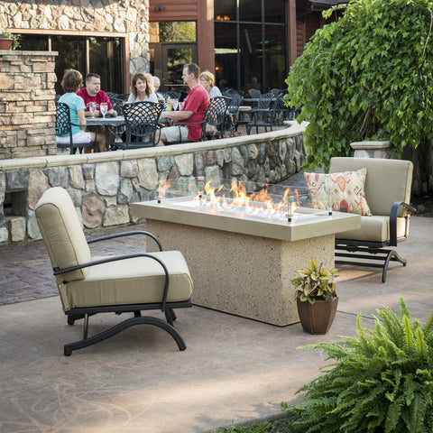 Image of The Outdoor GreatRoom Company Key Largo 48-Inch Linear Propane Gas Fire Pit Table  Brown - KL-1242-BRN - Fire Pit Table - The Outdoor GreatRoom Company - ElectricFireplacesPlus.com