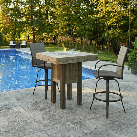 Image of The Outdoor GreatRoom Company Westport 39-Inch Square Pub Height Propane Gas Fire Pit Table - Brown - WP-1616 - Fire Pit Table - The Outdoor GreatRoom Company - ElectricFireplacesPlus.com