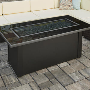 The Outdoor GreatRoom Company Monte Carlo 59-Inch Linear Natural Gas Fire Pit Table - Black - MCR-1242-BLK-K-NG