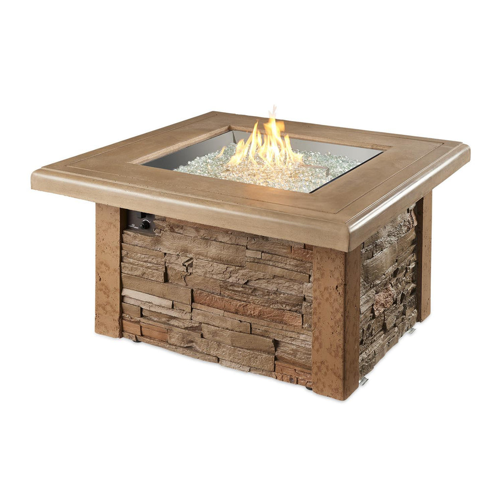 The Outdoor GreatRoom Company Sierra 43-Inch Square Natural Gas Fire Pit Table - Mocha - SIERRA-2424-M-K-NG - Fire Pit Table - The Outdoor GreatRoom Company - ElectricFireplacesPlus.com