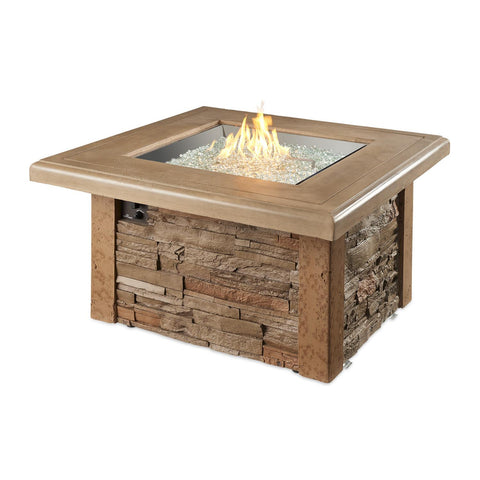 The Outdoor GreatRoom Company Sierra 43-Inch Square Propane Gas Fire Pit Table - Mocha - SIERRA-2424-M-K - Fire Pit Table - The Outdoor GreatRoom Company - ElectricFireplacesPlus.com