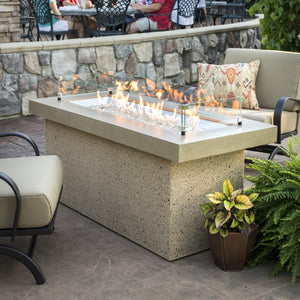 The Outdoor GreatRoom Company Key Largo 48-Inch Linear Propane Gas Fire Pit Table  Brown - KL-1242-BRN
