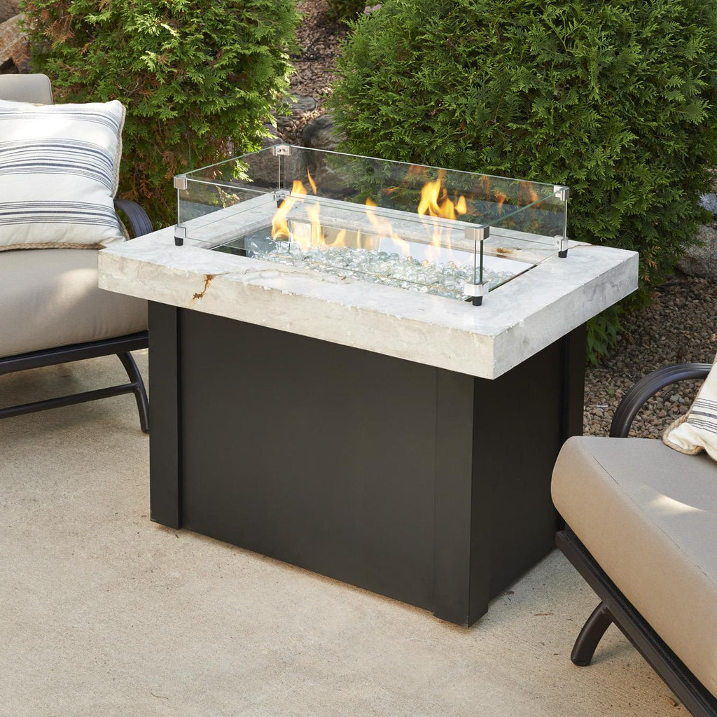 The Outdoor GreatRoom Company Providence 32-Inch Rectangular Propane Gas Fire Pit Table - White - PROV-1224-WO-K - Fire Pit Table - The Outdoor GreatRoom Company - ElectricFireplacesPlus.com