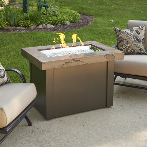 The Outdoor GreatRoom Company Providence 32-Inch Rectangular Propane Gas Fire Pit Table - Brown - PROV-1224-MNB-K - Fire Pit Table - The Outdoor GreatRoom Company - ElectricFireplacesPlus.com