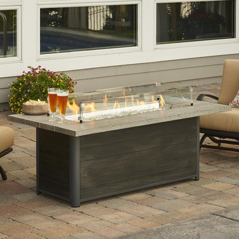 The Outdoor GreatRoom Company 61-Inch Linear Natural Gas Fire Pit Table - Grey Cedar - CR-1242-K-NG - Fire Pit Table - The Outdoor GreatRoom Company - ElectricFireplacesPlus.com