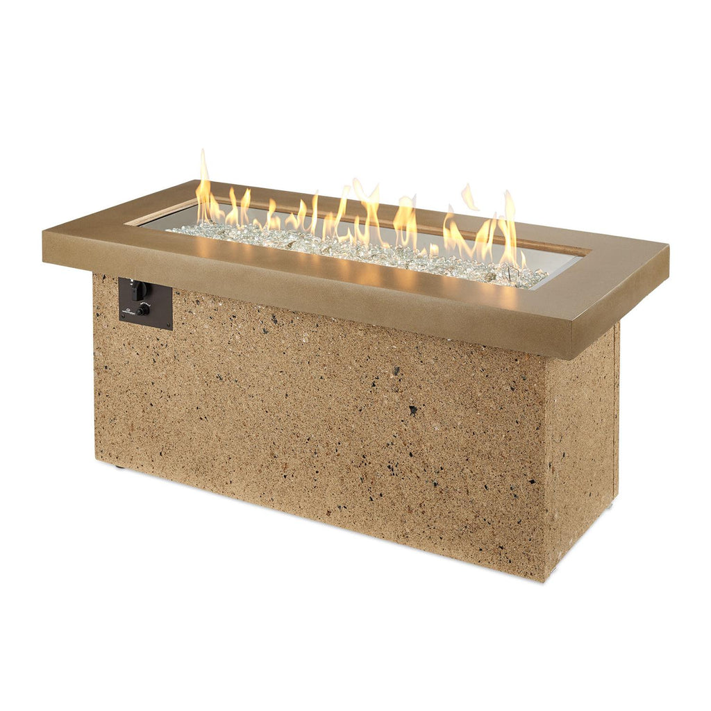 The Outdoor GreatRoom Company Key Largo 48-Inch Linear Natural Gas Fire Pit Table - Brown -  KL-1242-BRN-NG - Fire Pit Table - The Outdoor GreatRoom Company - ElectricFireplacesPlus.com