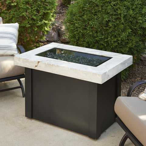 Image of The Outdoor GreatRoom Company Providence 32-Inch Rectangular Natural Gas Fire Pit Table - White - PROV-1224-WO-K-NG - Fire Pit Table - The Outdoor GreatRoom Company - ElectricFireplacesPlus.com