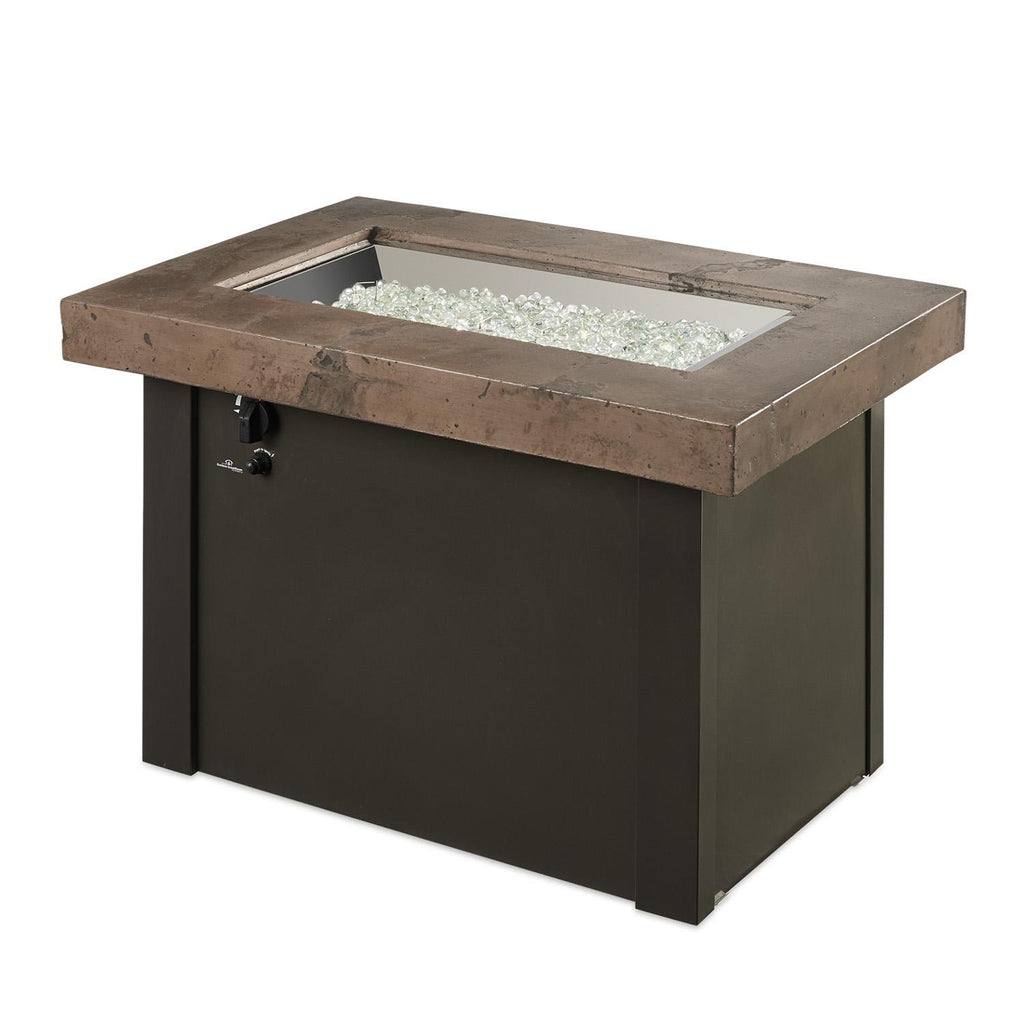 The Outdoor GreatRoom Company Providence 32-Inch Rectangular Natural Gas Fire Pit Table - Brown - PROV-1224-MNB-K-NG - Fire Pit Table - The Outdoor GreatRoom Company - ElectricFireplacesPlus.com