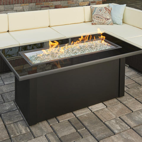 Image of The Outdoor GreatRoom Company Monte Carlo 59-Inch Linear Natural Gas Fire Pit Table - Black - MCR-1242-BLK-K-NG - Fire Pit Table - The Outdoor GreatRoom Company - ElectricFireplacesPlus.com