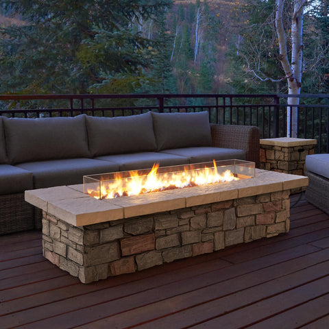 Image of Real Flame Sedona 66-Inch Rectangle Fire Pit Table - Propane w/ Conversion Kit - C11813LP-BF - Fire Table - Real Flame - ElectricFireplacesPlus.com