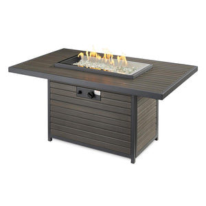 The Outdoor GreatRoom Company Brooks 50-Inch Rectangular Natrual Gas Fire Pit Table - Grey - BRK-1224-K-NG