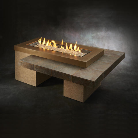 The Outdoor GreatRoom Company Uptown 64-Inch Linear Propane Gas Fire Pit Table - Brown - UPT-1242-BRN - Fire Pit Table - The Outdoor GreatRoom Company - ElectricFireplacesPlus.com