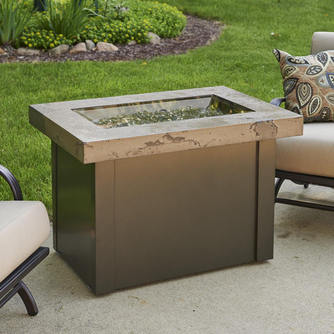 Image of The Outdoor GreatRoom Company Providence 32-Inch Rectangular Natural Gas Fire Pit Table - Brown - PROV-1224-MNB-K-NG - Fire Pit Table - The Outdoor GreatRoom Company - ElectricFireplacesPlus.com