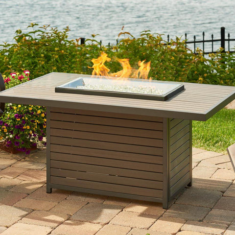 The Outdoor GreatRoom Company Brooks 50-Inch Rectangular Propane Gas Fire Pit Table - Grey - BRK-1224-K - Fire Pit Table - The Outdoor GreatRoom Company - ElectricFireplacesPlus.com