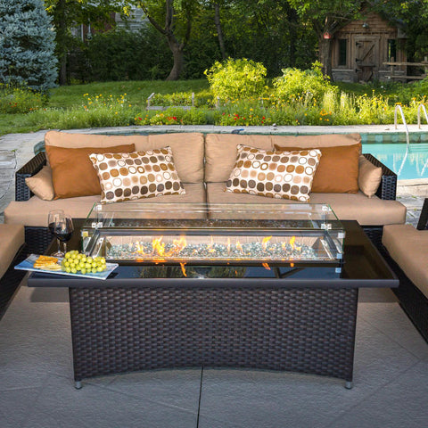 The Outdoor GreatRoom Company Montego 59-Inch Linear Propane Gas Fire Pit Table - Basalm Brown - MG-1242-BLSM-K - Fire Pit Table - The Outdoor GreatRoom Company - ElectricFireplacesPlus.com