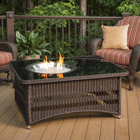 Image of The Outdoor GreatRoom Company Naples 48-Inch Rectangular Propane Gas Fire Pit Table - Brown - NAPLES-CT-B-K - Fire Pit Table - The Outdoor GreatRoom Company - ElectricFireplacesPlus.com