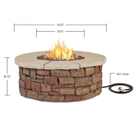 Image of Real Flame Sedona 36-Inch Round Fire Pit Table - Propane w/ Conversion Kit - C11810LP-BF - Fire Table - Real Flame - ElectricFireplacesPlus.com