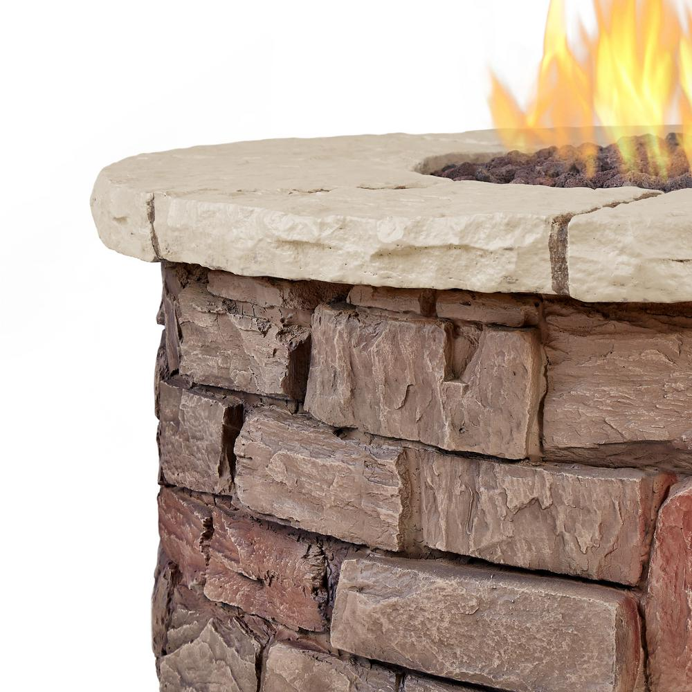 Real Flame Sedona 36-Inch Round Fire Pit Table - Propane w/ Conversion Kit - C11810LP-BF - Fire Table - Real Flame - ElectricFireplacesPlus.com