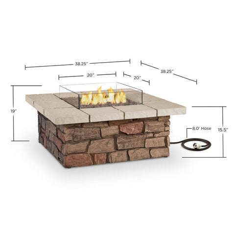 Image of Real Flame Sedona 38-Inch Square Fire Pit Table - Propane w/ Conversion - C11811LP-BF - Fire Table - Real Flame - ElectricFireplacesPlus.com