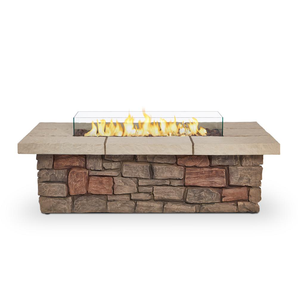 Real Flame Sedona 52-Inch Rectangle Fire Pit Table - Propane w/ Conversion Kit - C11812LP-BF - Fire Table - Real Flame - ElectricFireplacesPlus.com