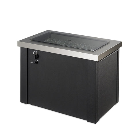 Image of The Outdoor GreatRoom Company Providence 32-Inch Rectangular Propane Gas Fire Pit Table  - Stainless Steel - PROV-1224-SS - Fire Pit Table - The Outdoor GreatRoom Company - ElectricFireplacesPlus.com