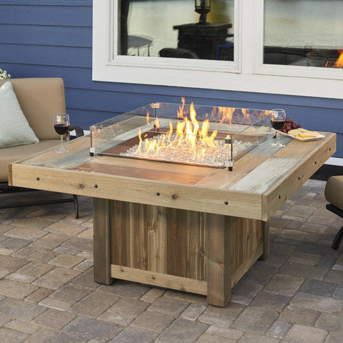 Image of The Outdoor GreatRoom Company 48-Inch Square Natural Gas Fire Pit Table - Brown- VNG-2424BRN-NG - Fire Pit Table - The Outdoor GreatRoom Company - ElectricFireplacesPlus.com