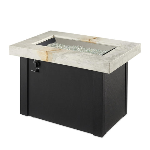 Image of The Outdoor GreatRoom Company Providence 32-Inch Rectangular Propane Gas Fire Pit Table - White - PROV-1224-WO-K - Fire Pit Table - The Outdoor GreatRoom Company - ElectricFireplacesPlus.com