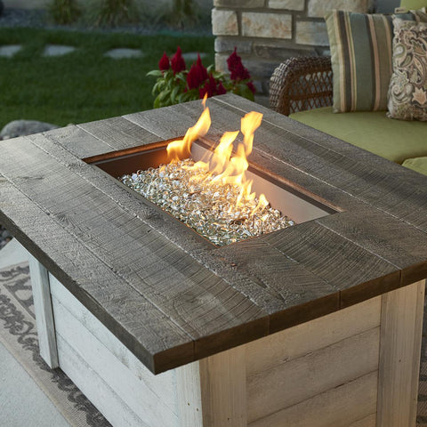 Image of The Outdoor GreatRoom Company Alcott 48-Inch Rectangular Natural Gas Fire Pit Table - Antique Timber- ALC-1224-NG - Fire Pit Table - The Outdoor GreatRoom Company - ElectricFireplacesPlus.com