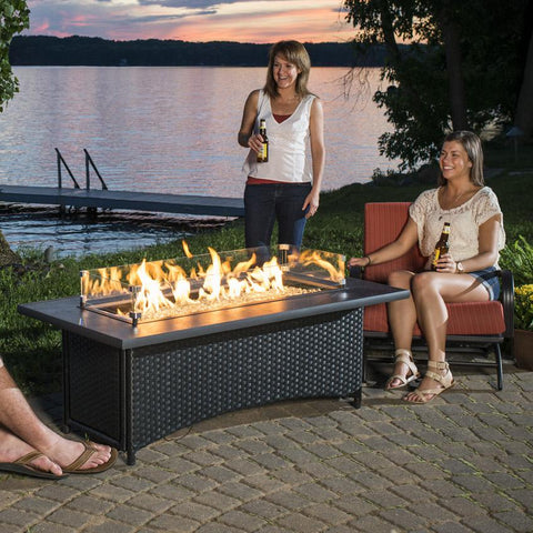 Image of The Outdoor GreatRoom Company Montego 59-Inch Linear Propane Gas Fire Pit Table with - Absolute Black - MG-1242-BLK-K - Fire Pit Table - The Outdoor GreatRoom Company - ElectricFireplacesPlus.com