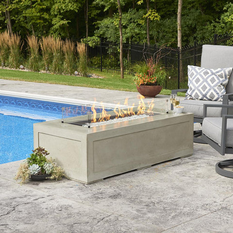 Image of The Outdoor GreatRoom Company Cove 54-Inch Linear Propane Gas Fire Pit Table - Natural Grey - CV-1242 - Fire Pit Table - The Outdoor GreatRoom Company - ElectricFireplacesPlus.com