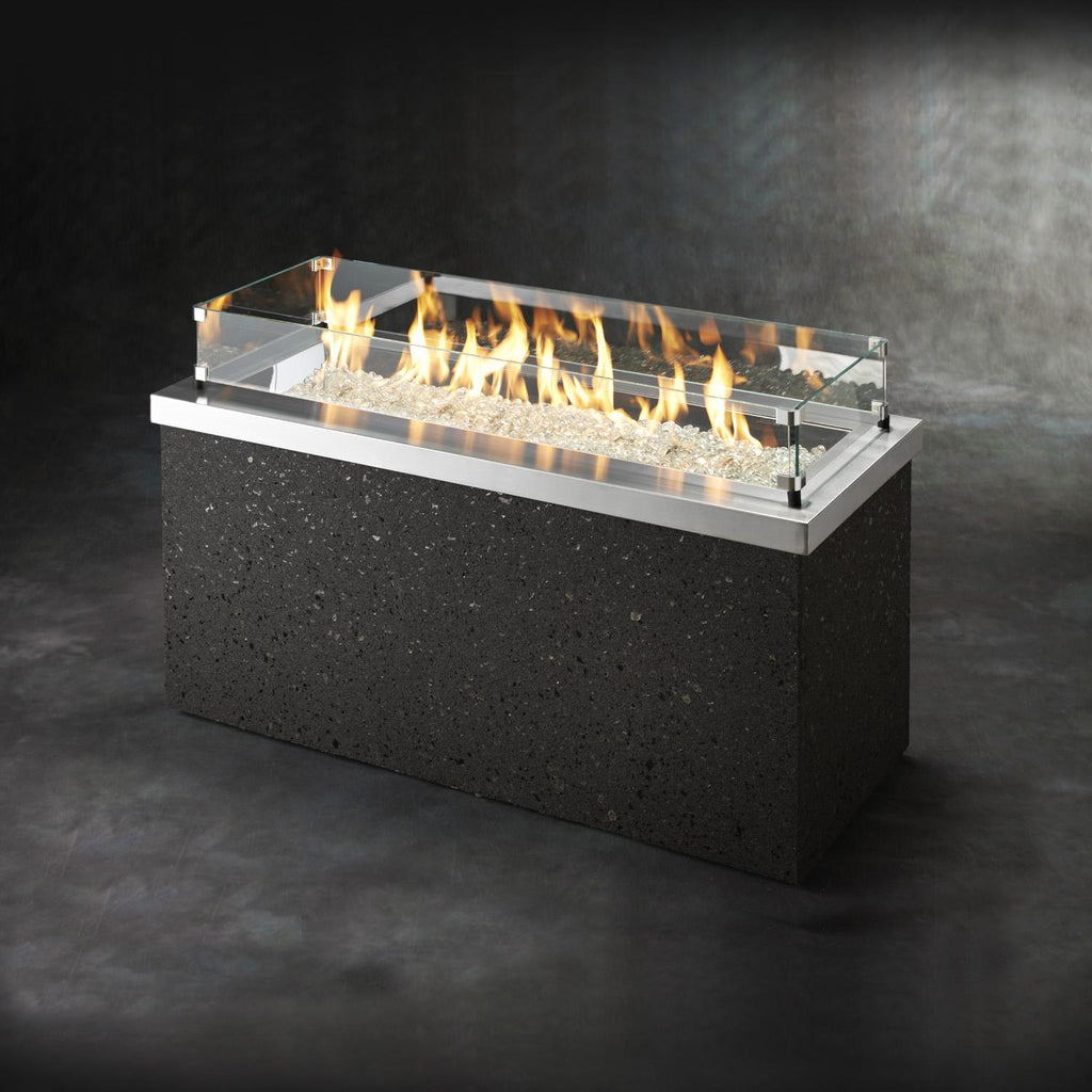 The Outdoor GreatRoom Company Key Largo 54-Inch Linear Natural Gas Fire Pit Table - Stainless Steel - KL-1242-SS-NG - Fire Pit Table - The Outdoor GreatRoom Company - ElectricFireplacesPlus.com