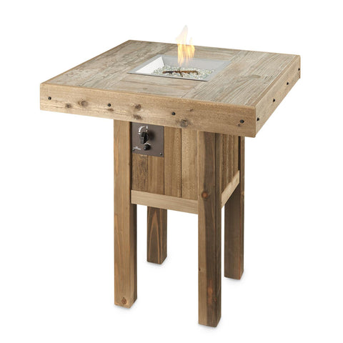 Image of The Outdoor GreatRoom Company Westport 39-Inch Square Pub Height Natural Gas Fire Pit Table- Brown - WP-1616-NG - Fire Pit Table - The Outdoor GreatRoom Company - ElectricFireplacesPlus.com