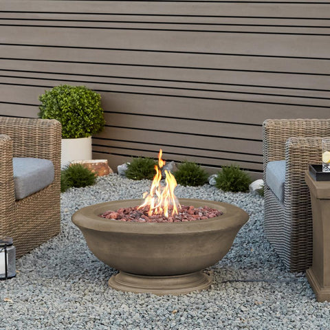 Real Flame Treviso 38-Inch Round Fire Bowl - Propane w/ Conversion Kit - Dove Gray - Fire Bowl - Real Flame - ElectricFireplacesPlus.com