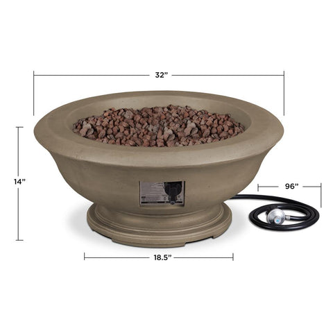 Image of Real Flame Treviso 38-Inch Round Fire Bowl - Propane w/ Conversion Kit - Dove Gray - Fire Bowl - Real Flame - ElectricFireplacesPlus.com