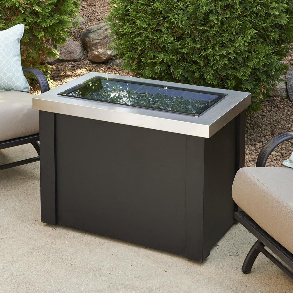 The Outdoor GreatRoom Company Providence 32-Inch Rectangular Propane Gas Fire Pit Table  - Stainless Steel - PROV-1224-SS - Fire Pit Table - The Outdoor GreatRoom Company - ElectricFireplacesPlus.com