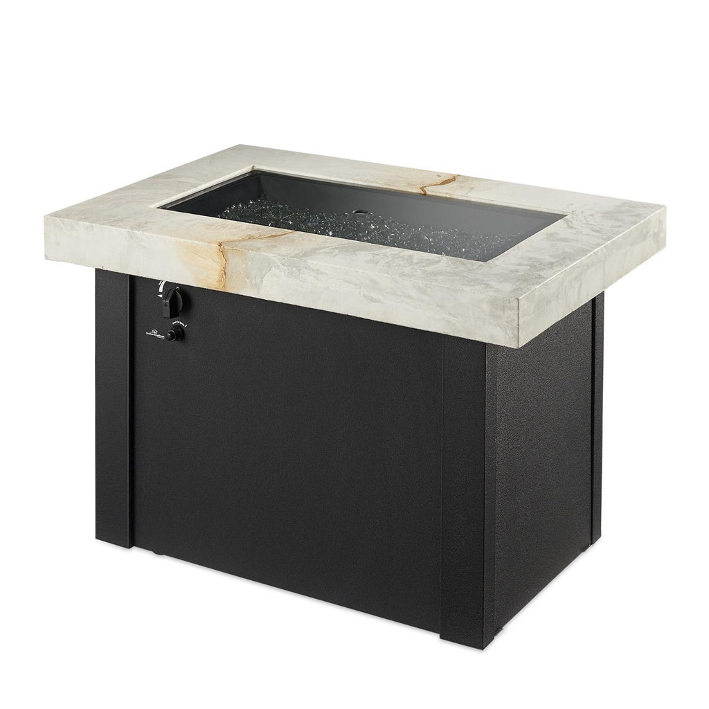 The Outdoor GreatRoom Company Providence 32-Inch Rectangular Natural Gas Fire Pit Table - White - PROV-1224-WO-K-NG - Fire Pit Table - The Outdoor GreatRoom Company - ElectricFireplacesPlus.com