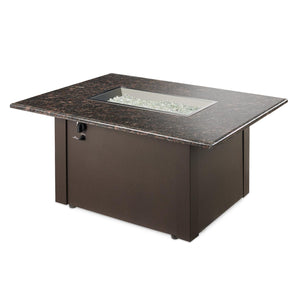 The Outdoor GreatRoom Company Grandstone 48-Inch Rectangular Natural Gas Fire Pit Table  - British Brown  - GS-1224-BRN-K-NG