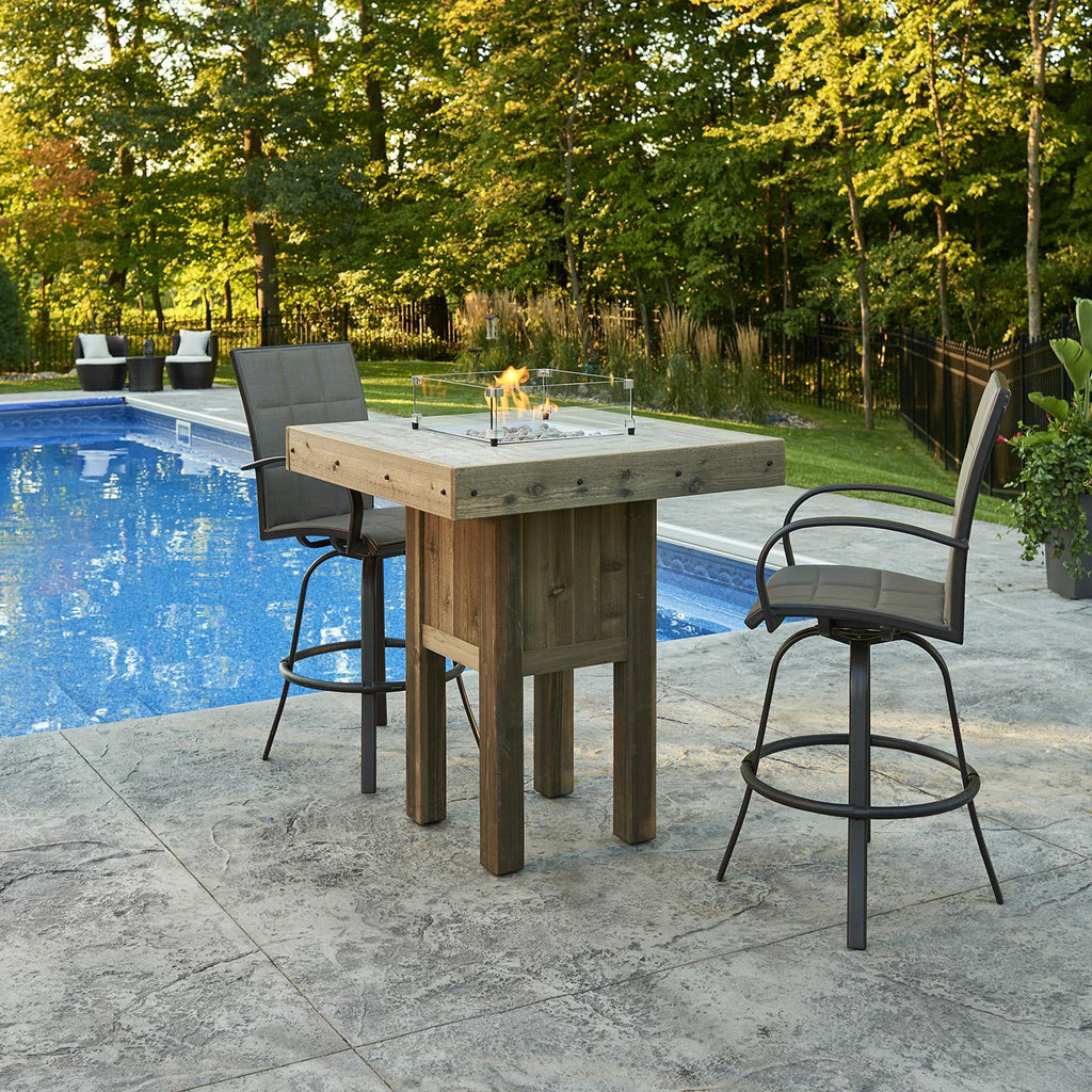The Outdoor GreatRoom Company Westport 39-Inch Square Pub Height Natural Gas Fire Pit Table- Brown - WP-1616-NG - Fire Pit Table - The Outdoor GreatRoom Company - ElectricFireplacesPlus.com