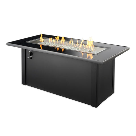 Image of The Outdoor GreatRoom Company Monte Carlo 59-Inch Linear Propane Gas Fire Pit Table- Black - MCR-1242-BLK-K - Fire Pit Table - The Outdoor GreatRoom Company - ElectricFireplacesPlus.com
