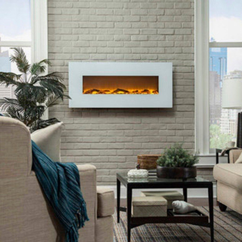 "Touchstone Ivory White 50"" Electric Fireplace - Electric Fireplace - Touchstone - ElectricFireplacesPlus.com"