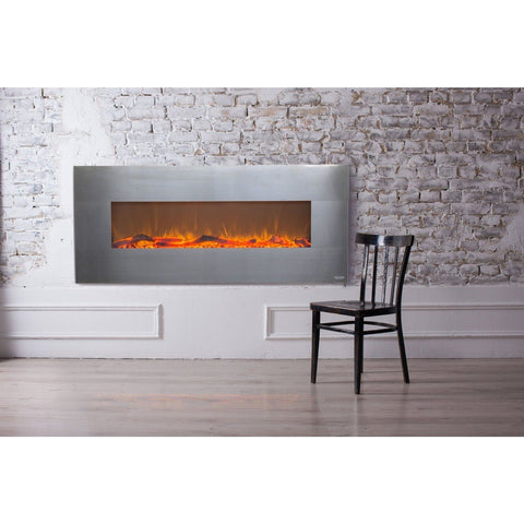"Touchstone Onyx 50"" Stainless Steel Electric Fireplace - Electric Fireplace - Touchstone - ElectricFireplacesPlus.com"