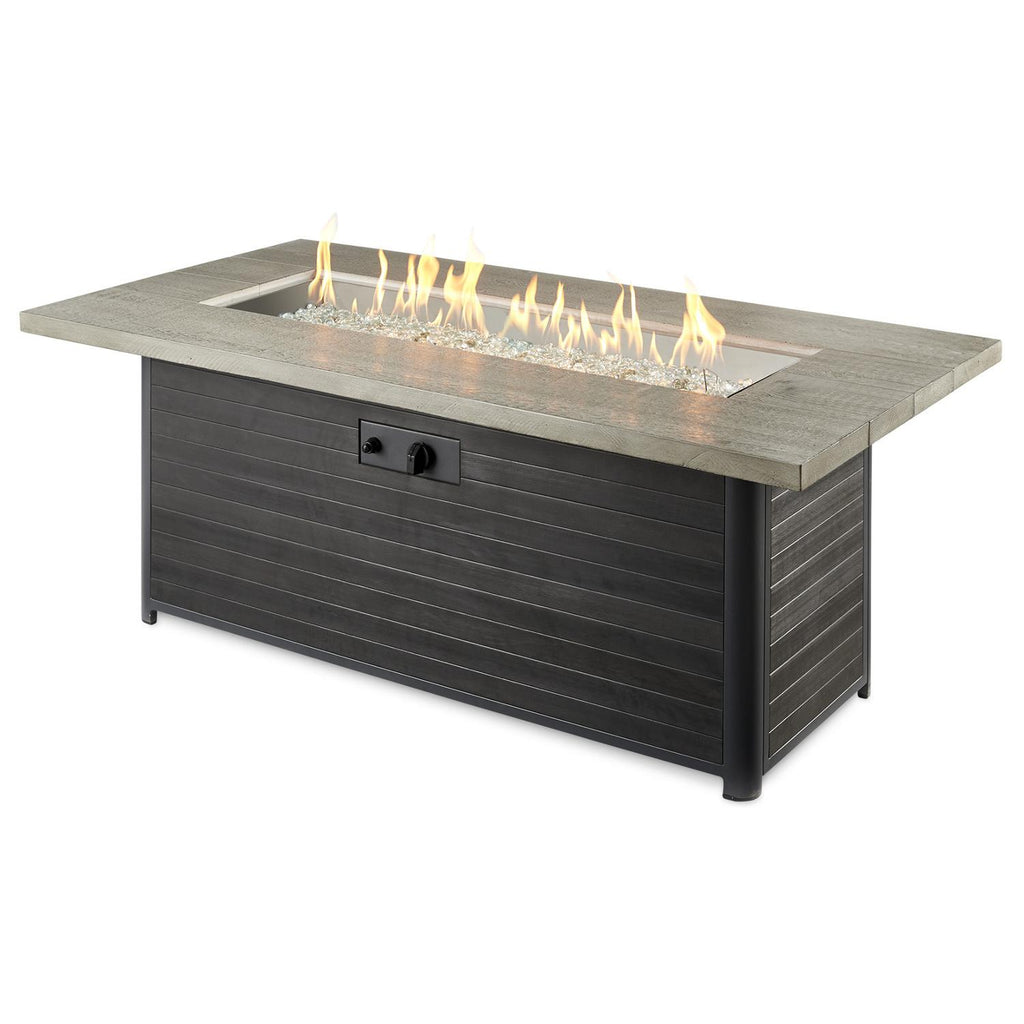 The Outdoor GreatRoom Company 61-Inch Linear Propane Gas Fire Pit Table - Grey Cedar - CR-1242-K - Fire Pit Table - The Outdoor GreatRoom Company - ElectricFireplacesPlus.com