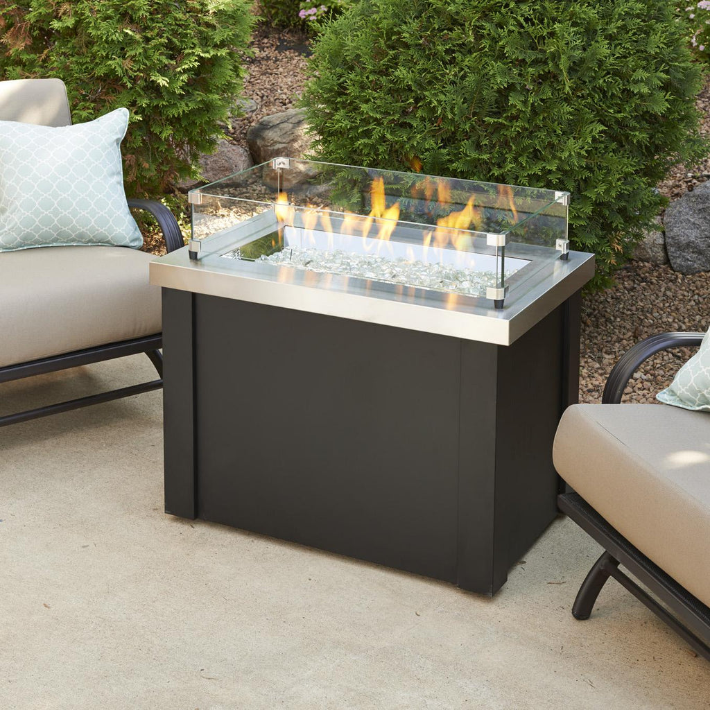 The Outdoor GreatRoom Company Providence 32-Inch Rectangular Natural Gas Fire Pit Table - Stainless Steel  - PROV-1224-SS-NG - Fire Pit Table - The Outdoor GreatRoom Company - ElectricFireplacesPlus.com