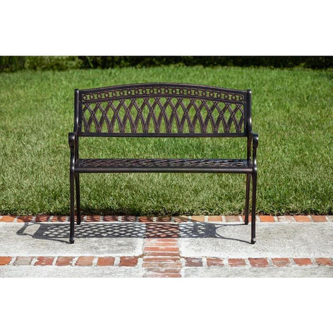 Image of Simone Cast Aluminum Bench - Patio Furniture - Patio Sense - ElectricFireplacesPlus.com