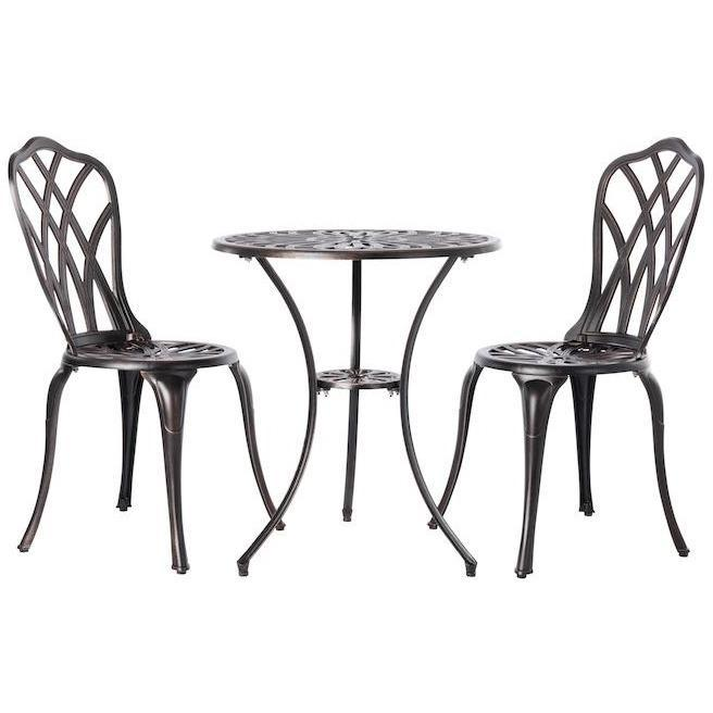 Theon Antique Bronze 3pc Bistro Set - Patio Furniture - Patio Sense - ElectricFireplacesPlus.com