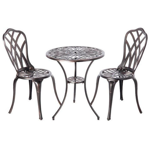 Image of Theon Antique Bronze 3pc Bistro Set - Patio Furniture - Patio Sense - ElectricFireplacesPlus.com