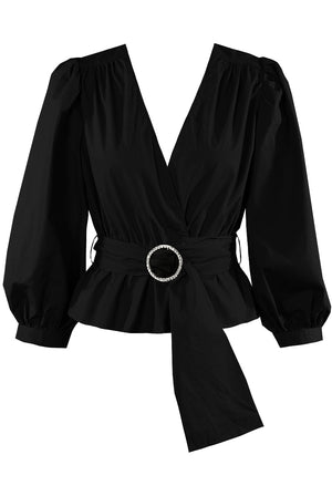 Glam Diamante Trim Belted Wrap Blouse