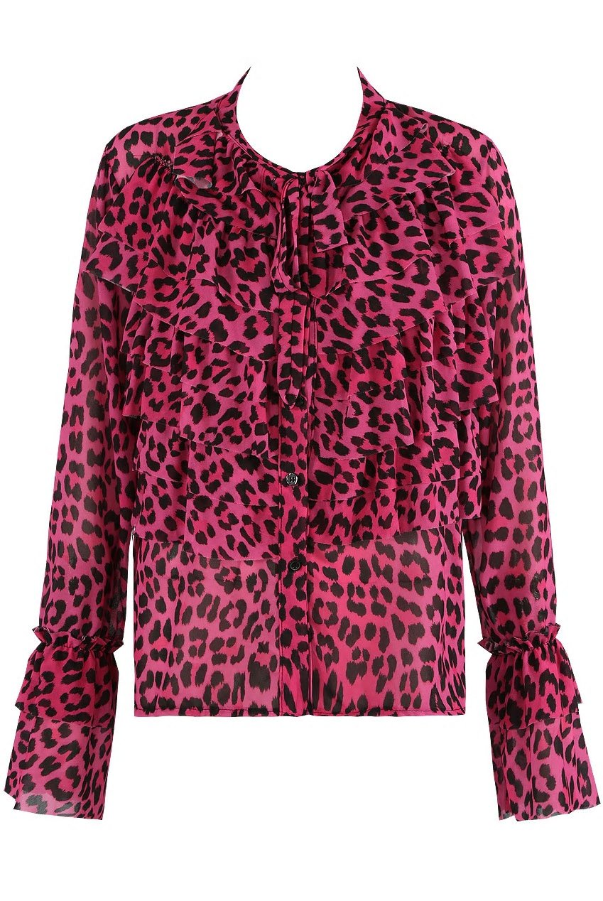 Pink Leopard Print Ruffles Pussy Bow Shirt